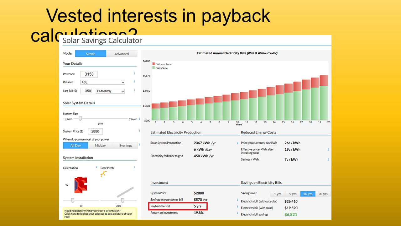 Vested interests in payback calculations?