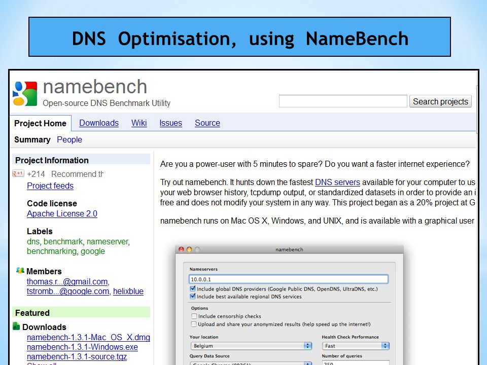 DNS Optimisation, using NameBench