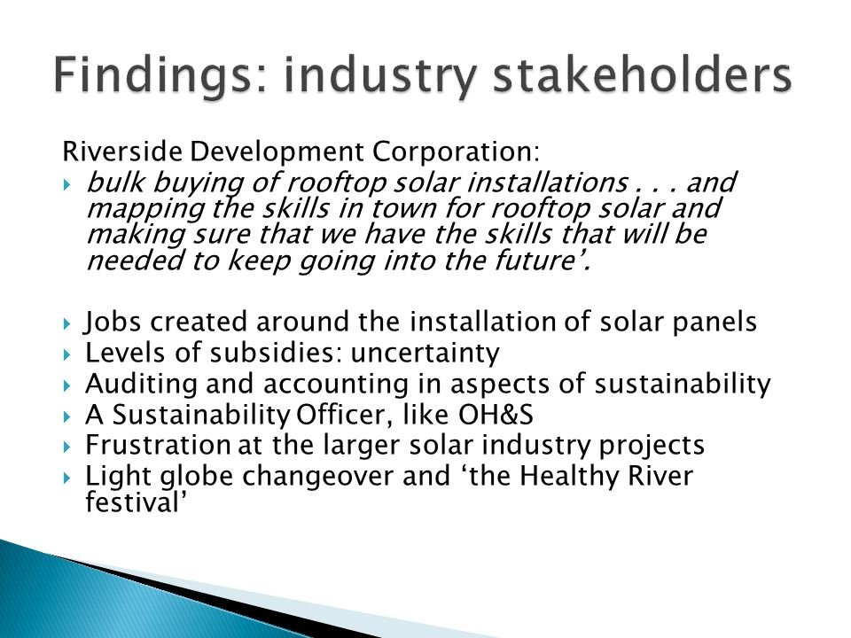 Riverside Development Corporation:  bulk buying of rooftop solar installations...
