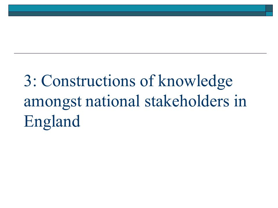 3: Constructions of knowledge amongst national stakeholders in England