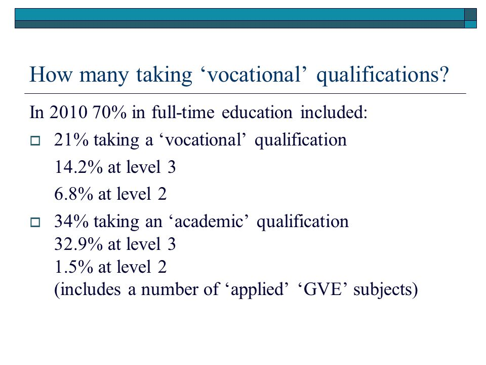 How many taking 'vocational' qualifications.
