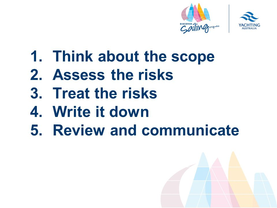1.Think about the scope 2.Assess the risks 3.Treat the risks 4.Write it down 5.Review and communicate