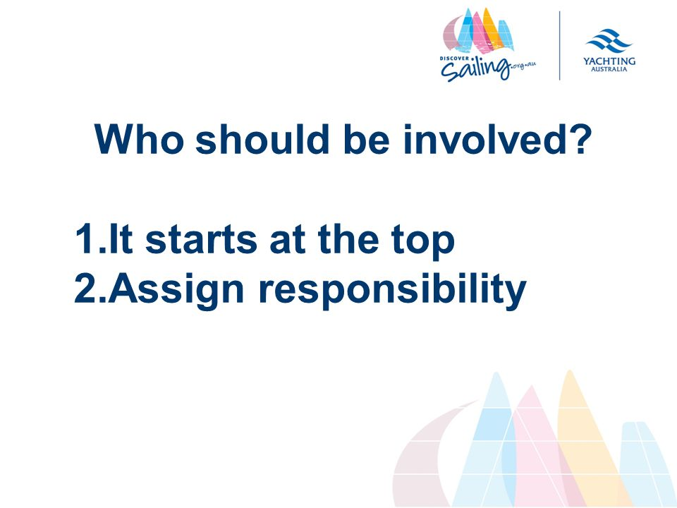 Who should be involved 1.It starts at the top 2.Assign responsibility