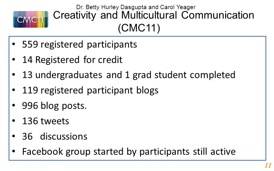 Creativity and Multicultural Communication (CMC11) 559 registered participants 14 Registered for credit 13 undergraduates and 1 grad student completed 119 registered participant blogs 996 blog posts.