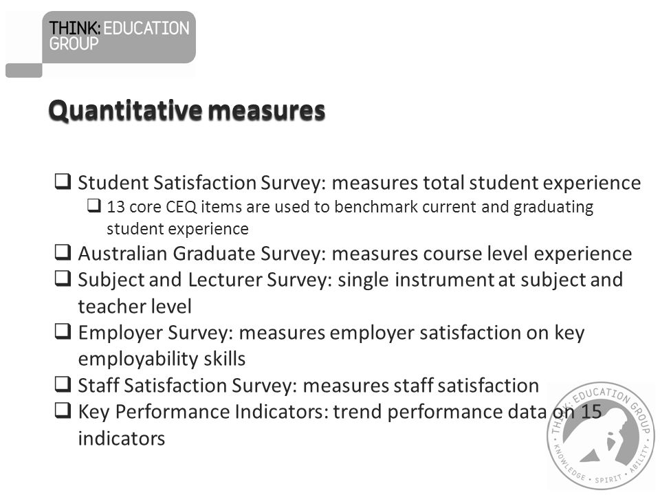 Qualitative measures Five yearly institutional re-registration by State Govt Five yearly course re-accreditation by State Govt Course advisory committees External assessment moderation with 2 public universities Five yearly internal self review and external review  Have Your Say feedback & qualitative comments from surveys