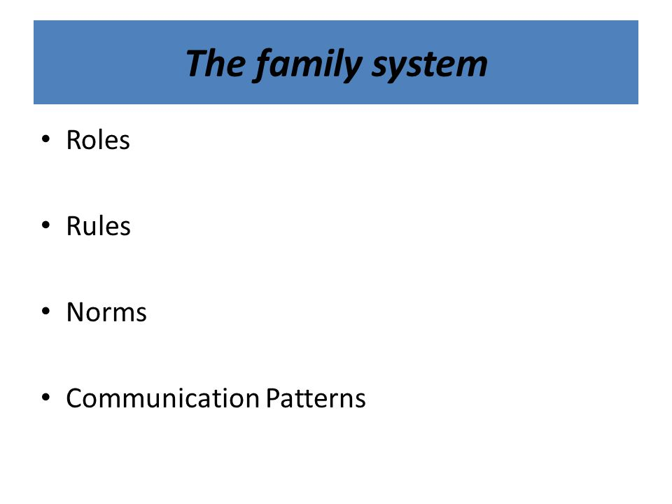 The family system Roles Rules Norms Communication Patterns