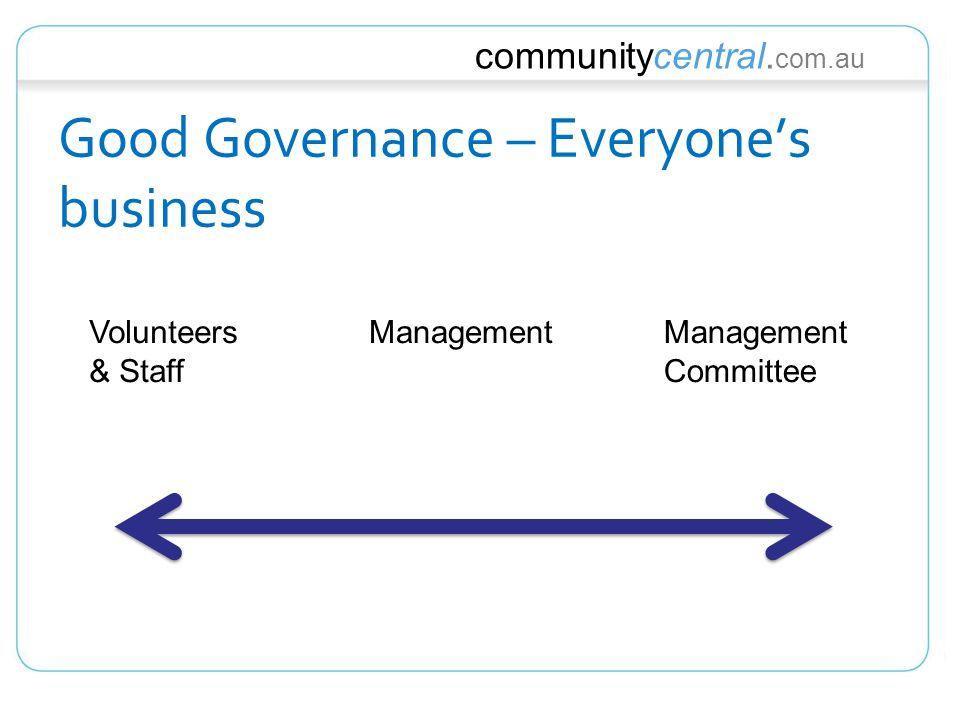 communitycentral. com.au Good Governance – Everyone's business Volunteers & Staff ManagementManagement Committee