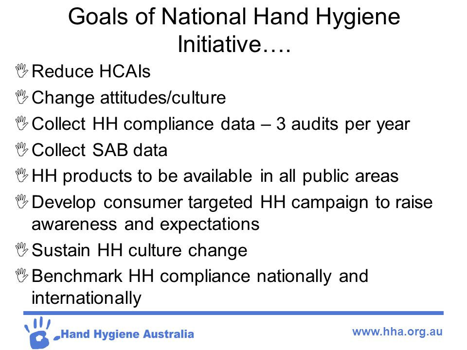 Goals of National Hand Hygiene Initiative….