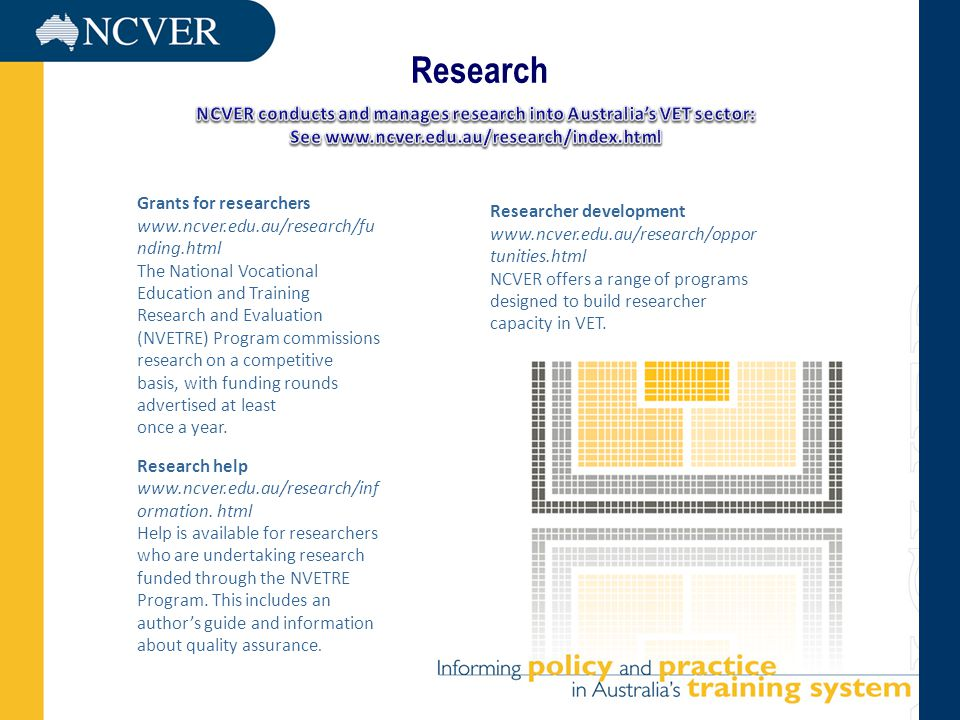 Research Grants for researchers www.ncver.edu.au/research/fu nding.html The National Vocational Education and Training Research and Evaluation (NVETRE