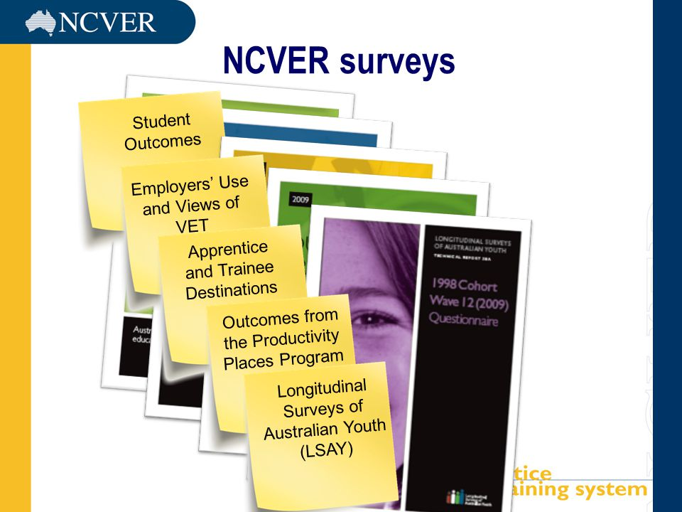 Student Outcomes Employers' Use and Views of VET Apprentice and Trainee Destinations NCVER surveys Outcomes from the Productivity Places Program Longi