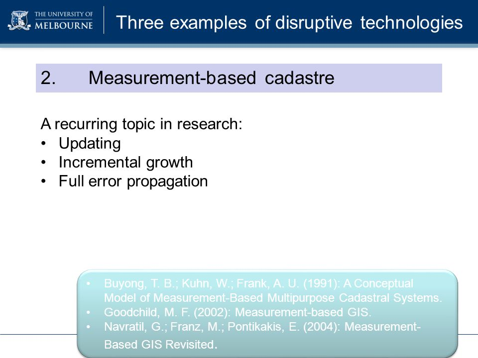 Three examples of disruptive technologies 2.Measurement-based cadastre Buyong, T.