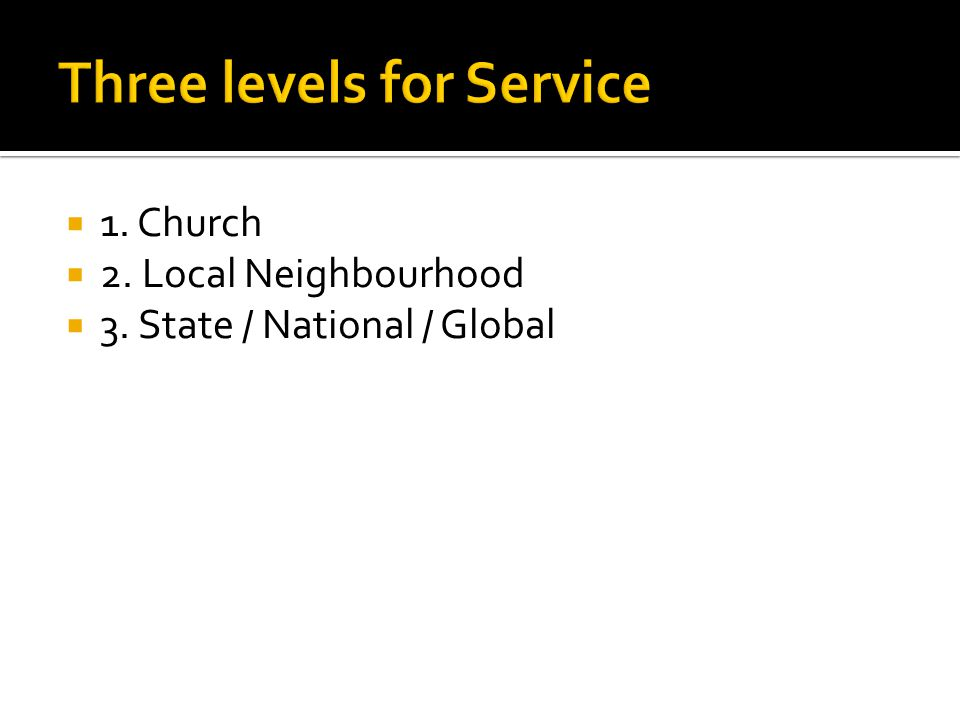  1. Church  2. Local Neighbourhood  3. State / National / Global