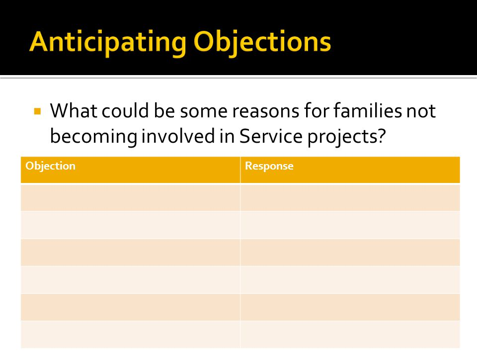  What could be some reasons for families not becoming involved in Service projects? ObjectionResponse