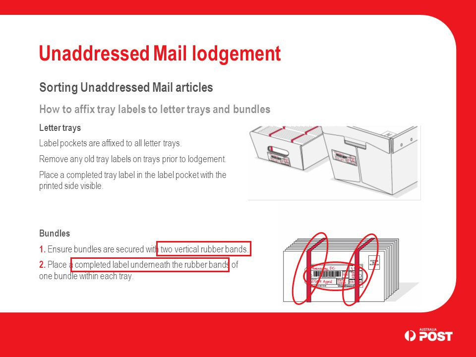 Unaddressed Mail lodgement Sorting Unaddressed Mail articles How to affix tray labels to letter trays and bundles Letter trays Label pockets are affixed to all letter trays.