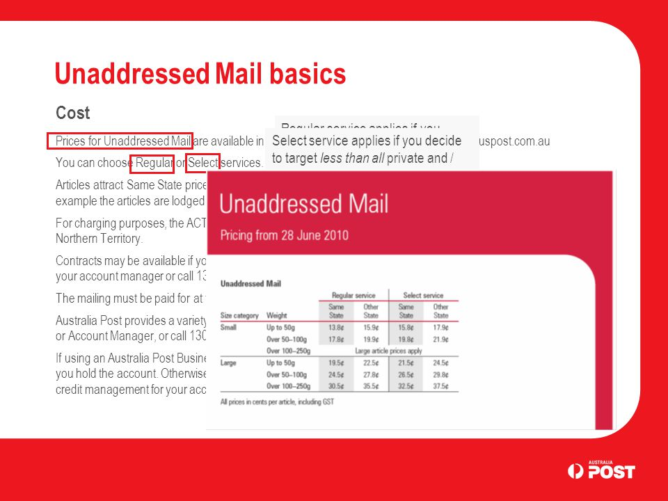 Unaddressed Mail basics Cost Prices for Unaddressed Mail are available in the Unaddressed Mail service guide and at auspost.com.au You can choose Regular or Select services.