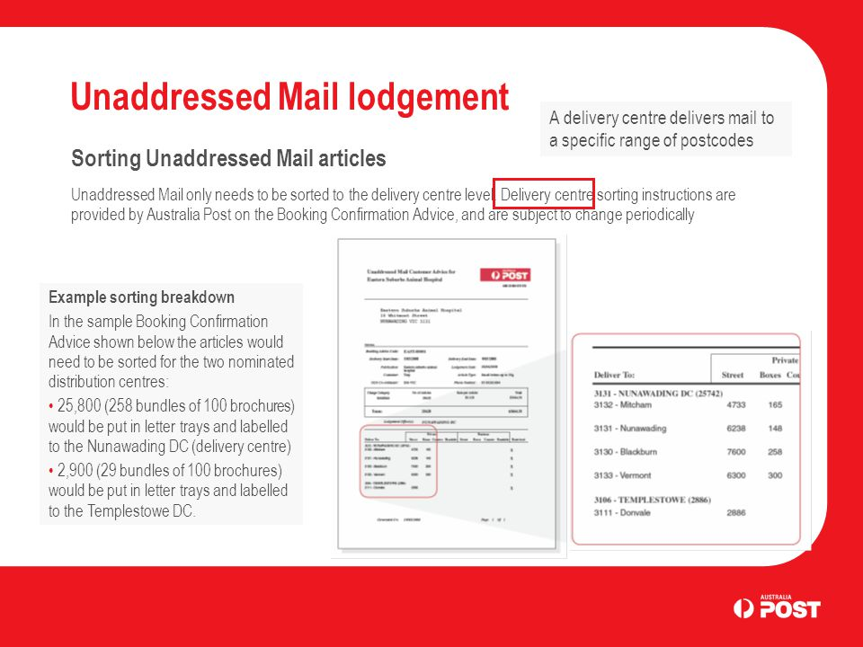 Unaddressed Mail lodgement Sorting Unaddressed Mail articles Unaddressed Mail only needs to be sorted to the delivery centre level.