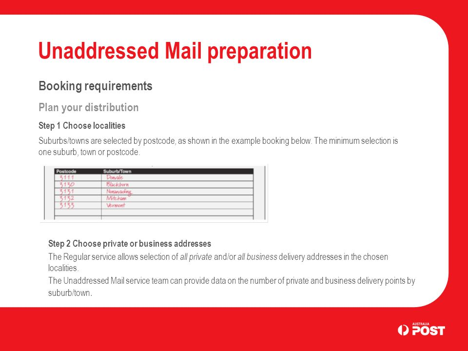 Unaddressed Mail preparation Booking requirements Plan your distribution Step 1 Choose localities Suburbs/towns are selected by postcode, as shown in