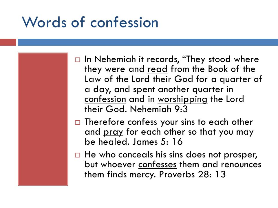 Words of confession  In Nehemiah it records, They stood where they were and read from the Book of the Law of the Lord their God for a quarter of a day, and spent another quarter in confession and in worshipping the Lord their God.