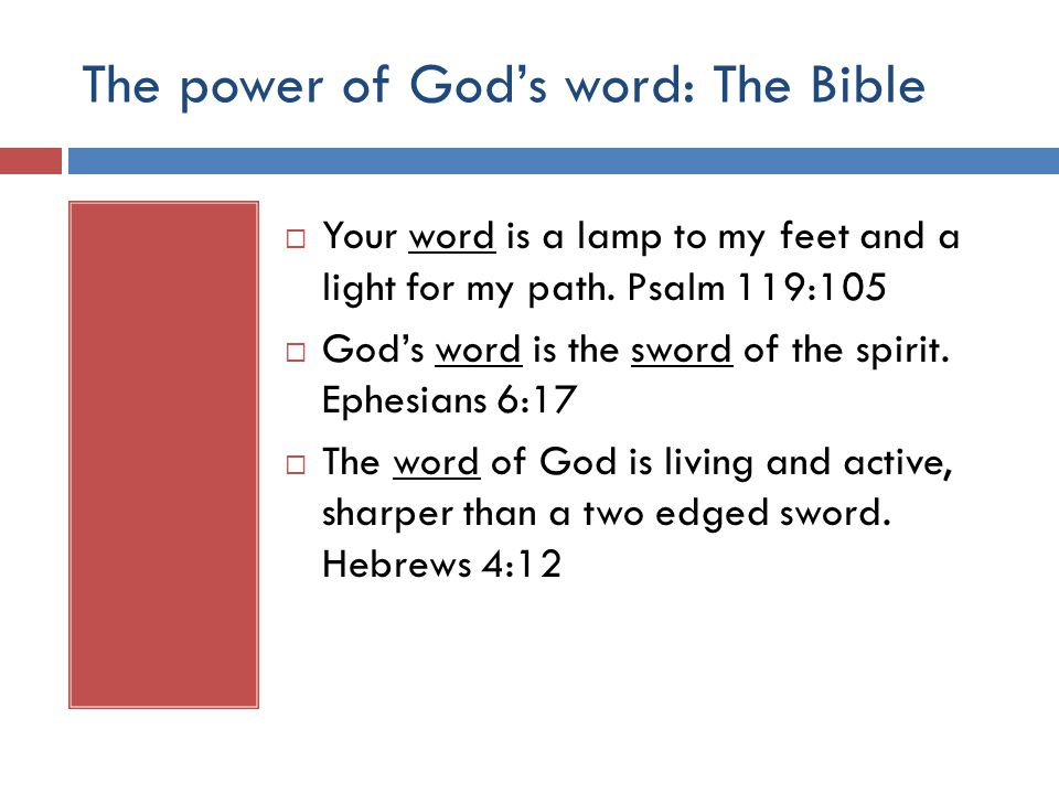 The power of God's word: The Bible  Your word is a lamp to my feet and a light for my path.