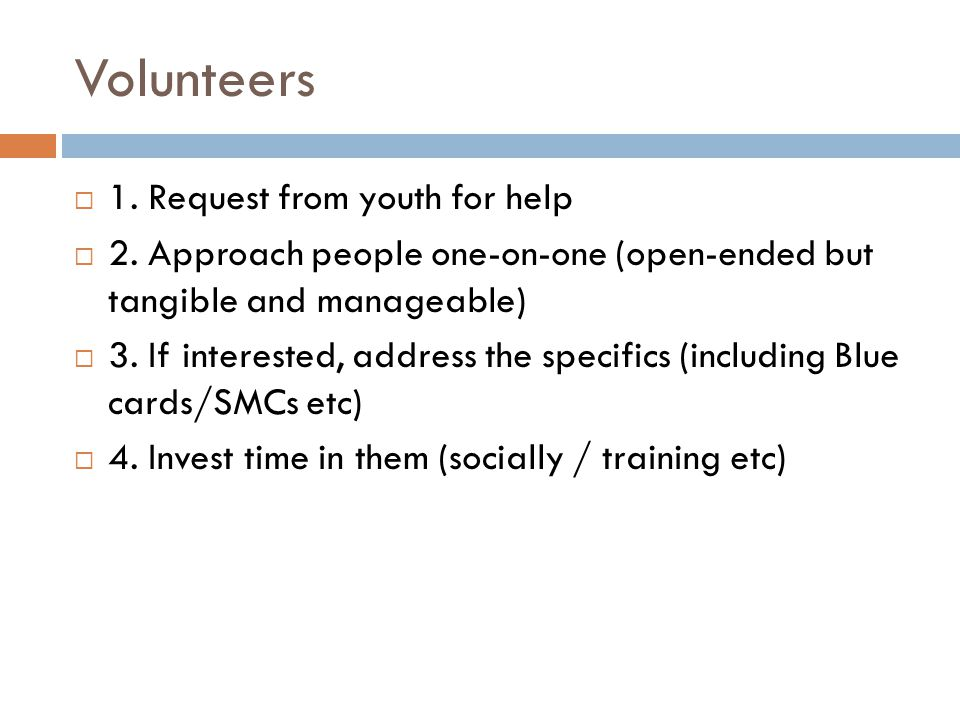Volunteers  1. Request from youth for help  2. Approach people one-on-one (open-ended but tangible and manageable)  3. If interested, address the s