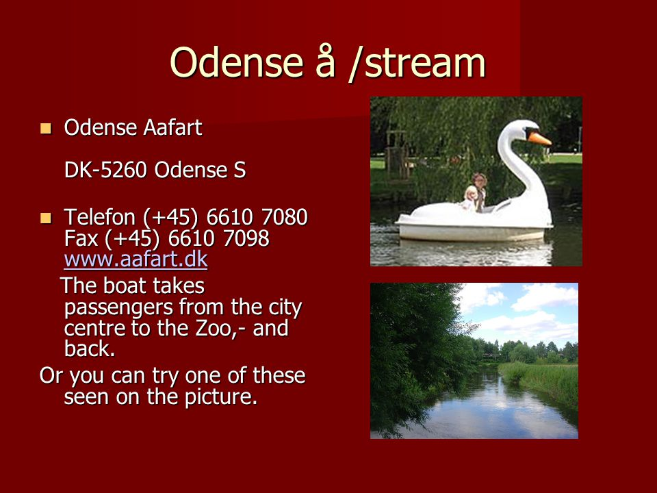 Odense å /stream Odense Aafart DK-5260 Odense S Odense Aafart DK-5260 Odense S Telefon (+45) 6610 7080 Fax (+45) 6610 7098 www.aafart.dk Telefon (+45) 6610 7080 Fax (+45) 6610 7098 www.aafart.dk www.aafart.dk The boat takes passengers from the city centre to the Zoo,- and back.