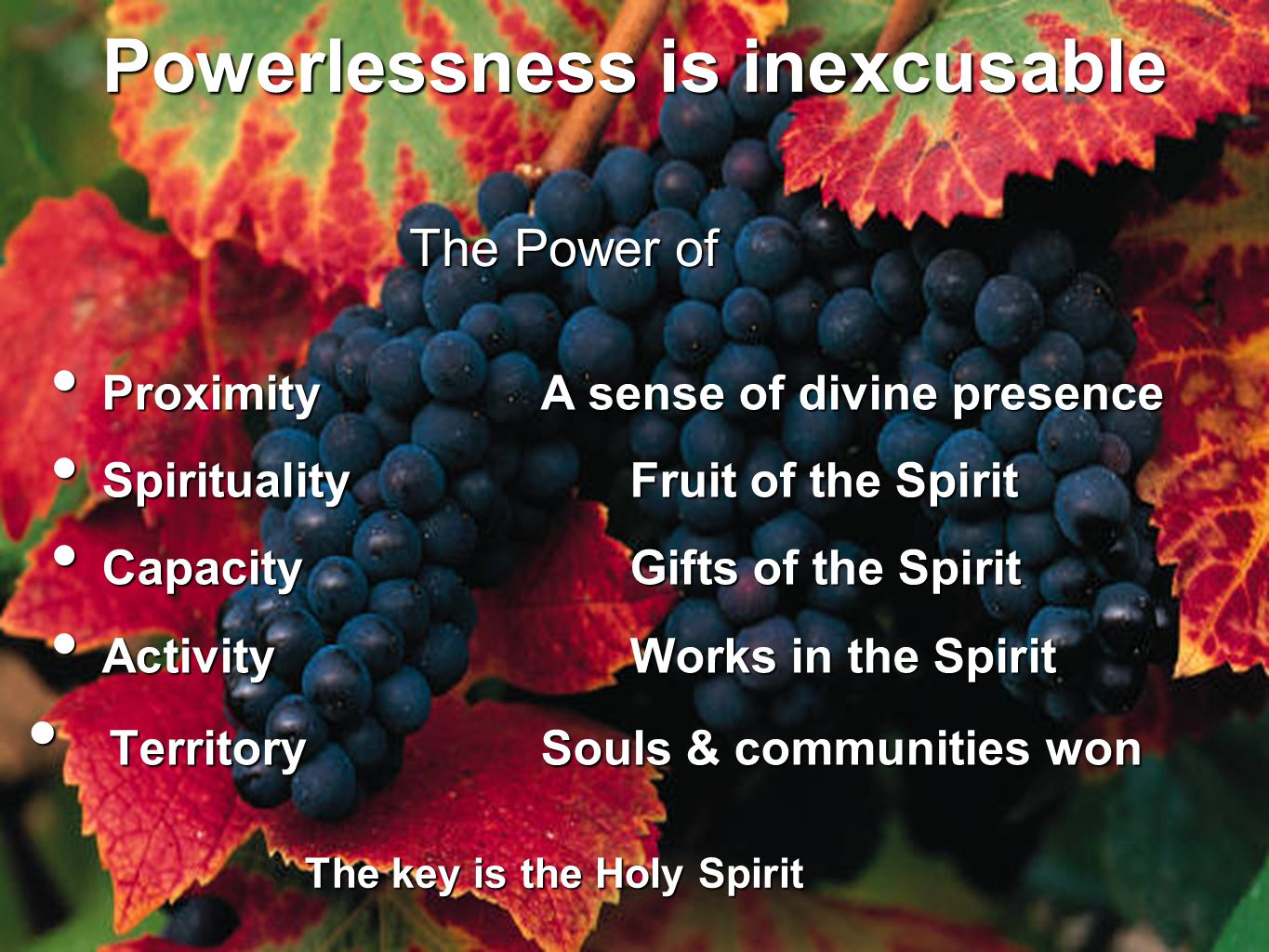 Powerlessness is inexcusable ProximityA sense of divine presence ProximityA sense of divine presence Spirituality Fruit of the Spirit Spirituality Fru