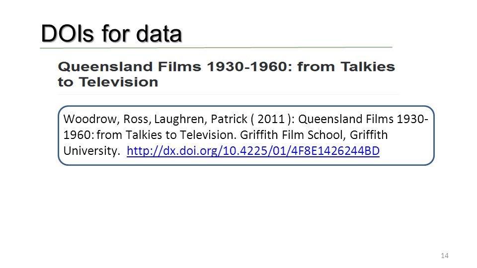 14 DOIs for data Woodrow, Ross, Laughren, Patrick ( 2011 ): Queensland Films 1930- 1960: from Talkies to Television.