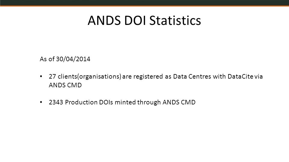 ANDS DOI Statistics As of 30/04/2014 27 clients(organisations) are registered as Data Centres with DataCite via ANDS CMD 2343 Production DOIs minted through ANDS CMD
