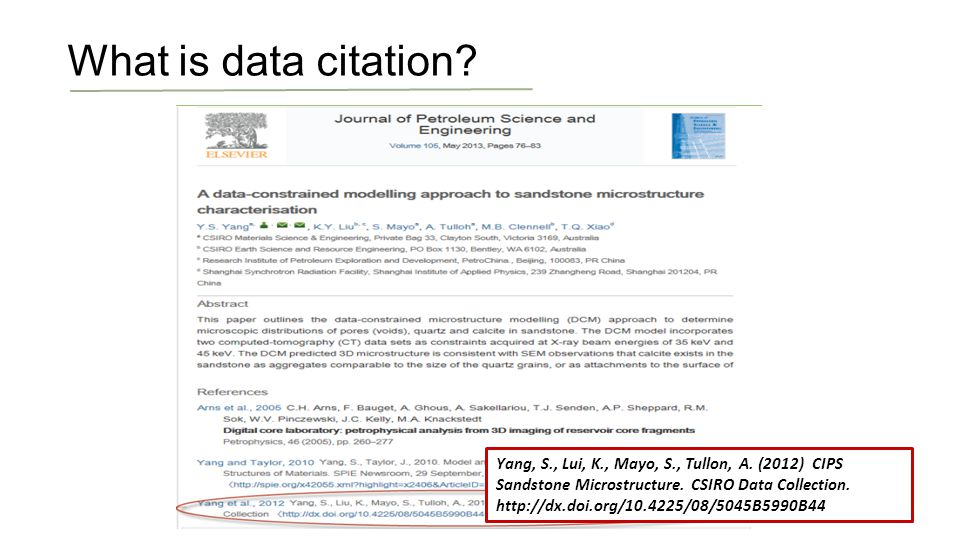 9 What is data citation. Yang, S., Lui, K., Mayo, S., Tullon, A.