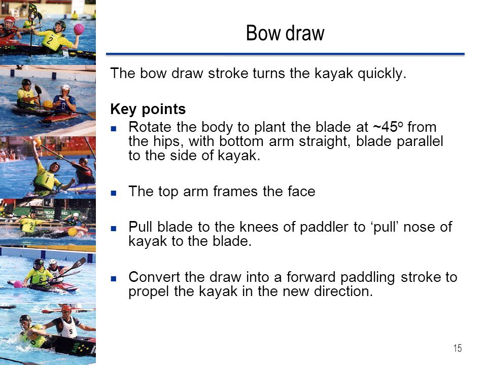 Bow draw The bow draw stroke turns the kayak quickly.