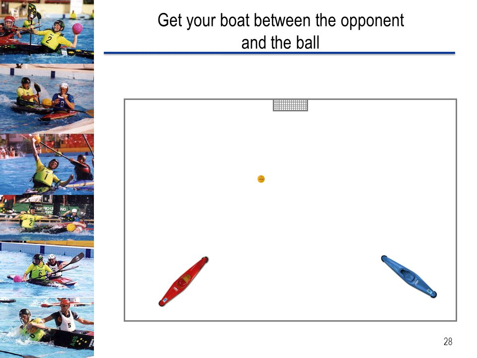 Get your boat between the opponent and the ball 28