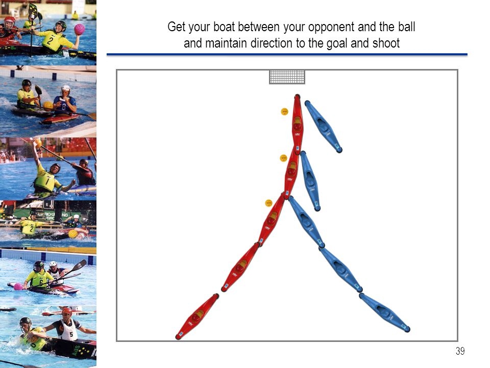 Get your boat between your opponent and the ball and maintain direction to the goal and shoot 39