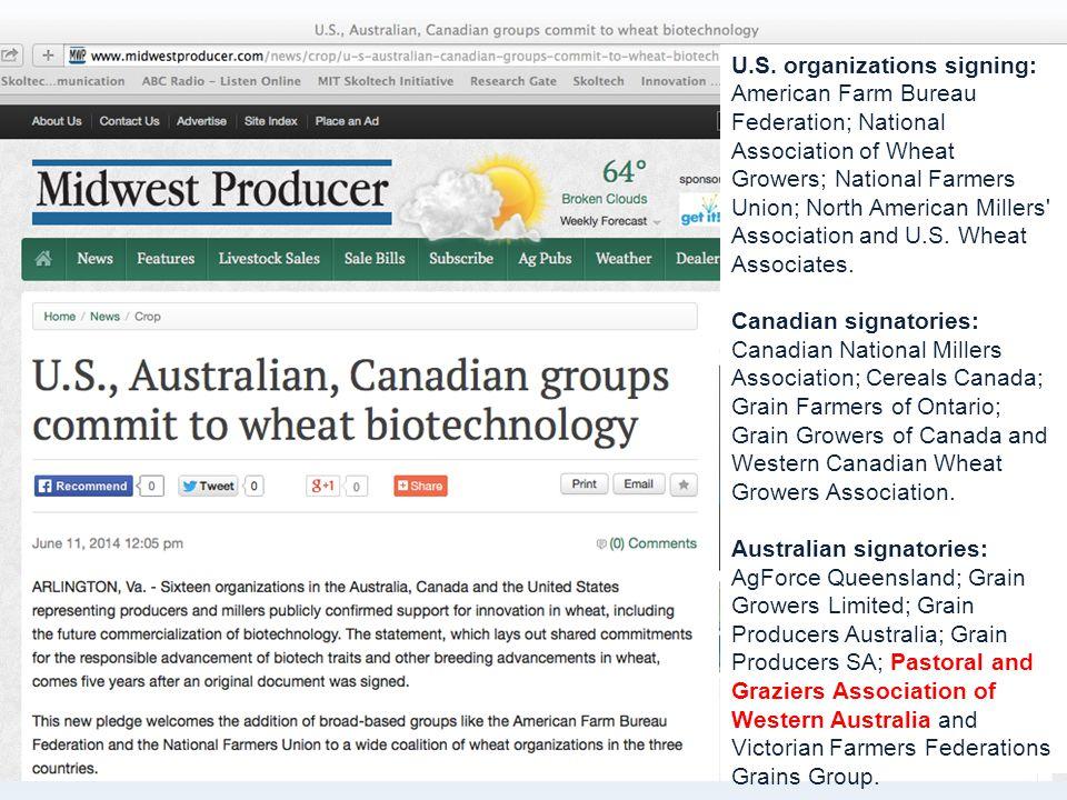 U.S. organizations signing: American Farm Bureau Federation; National Association of Wheat Growers; National Farmers Union; North American Millers' As