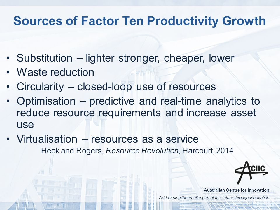 Australian Centre for Innovation Addressing the challenges of the future through innovation Sources of Factor Ten Productivity Growth Substitution – lighter stronger, cheaper, lower Waste reduction Circularity – closed-loop use of resources Optimisation – predictive and real-time analytics to reduce resource requirements and increase asset use Virtualisation – resources as a service Heck and Rogers, Resource Revolution, Harcourt, 2014