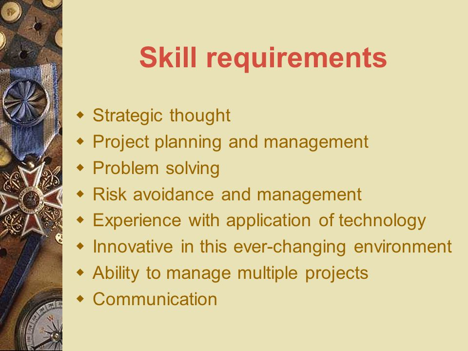 Skill requirements  Strategic thought  Project planning and management  Problem solving  Risk avoidance and management  Experience with applicati