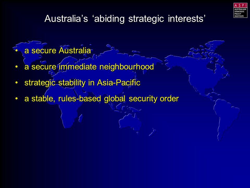 Key strategic aspirationKey strategic aspiration Key strategic assumptionKey strategic assumption Key strategic enablerKey strategic enabler The strategic environment challenges Australia's: