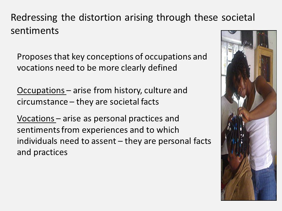 Redressing the distortion arising through these societal sentiments Proposes that key conceptions of occupations and vocations need to be more clearly