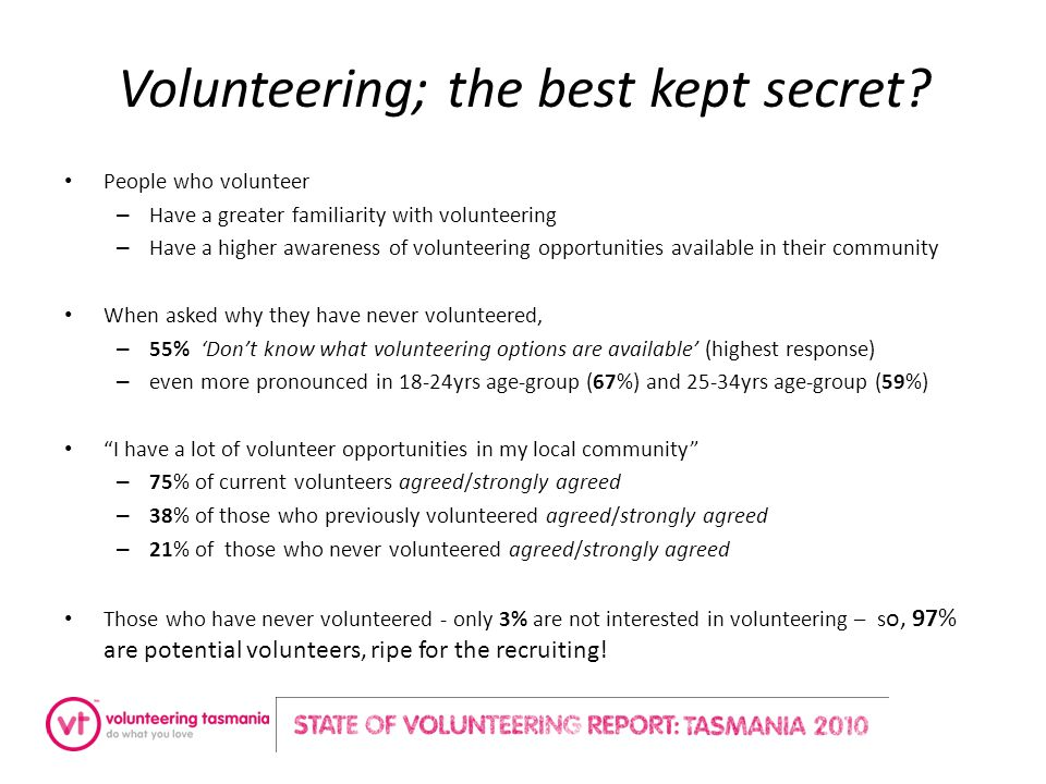 Volunteering; the best kept secret.