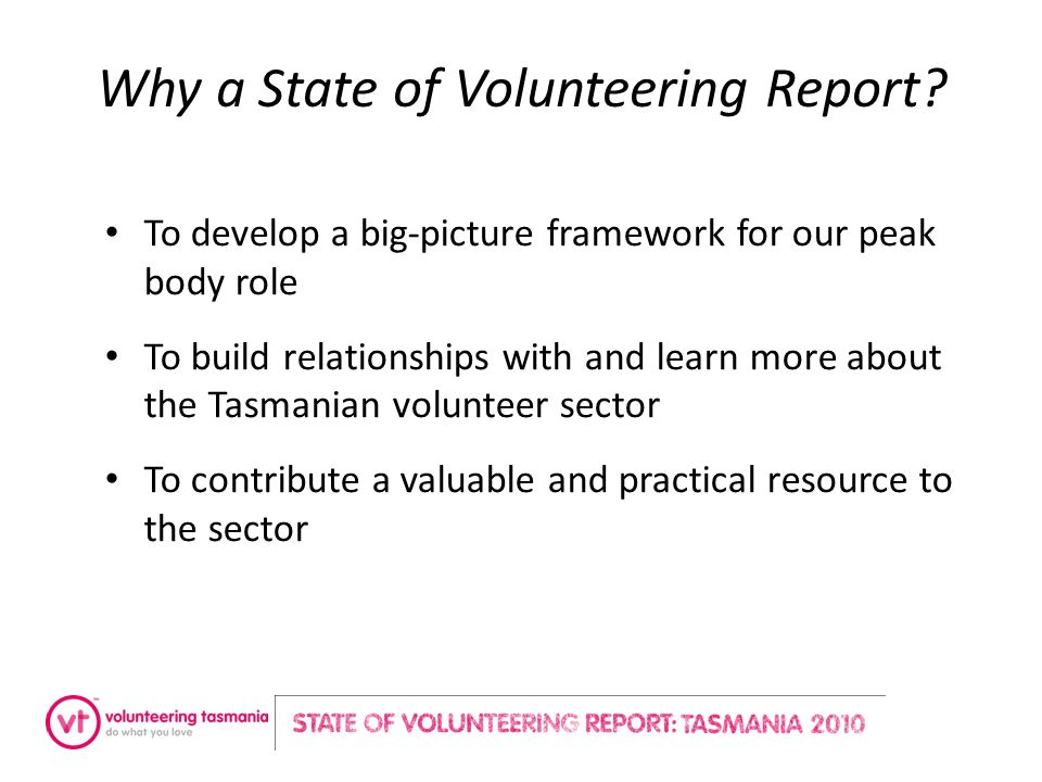 Why a State of Volunteering Report.