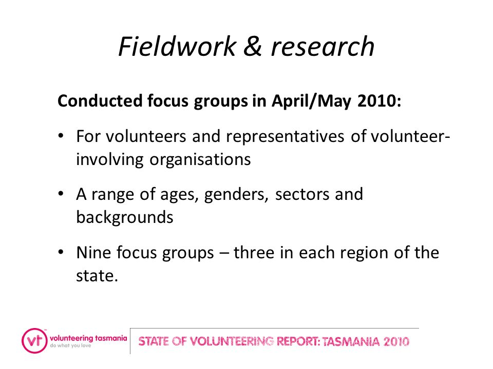 Fieldwork & research Conducted focus groups in April/May 2010: For volunteers and representatives of volunteer- involving organisations A range of age