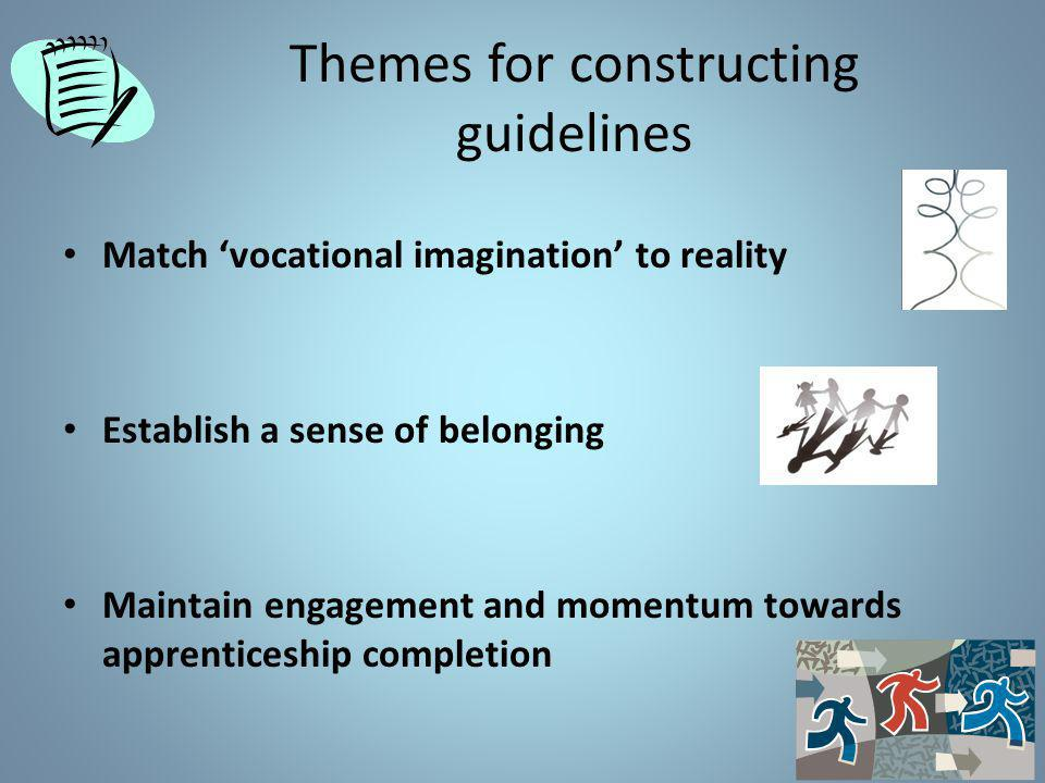 Themes for constructing guidelines Match 'vocational imagination' to reality Establish a sense of belonging Maintain engagement and momentum towards apprenticeship completion