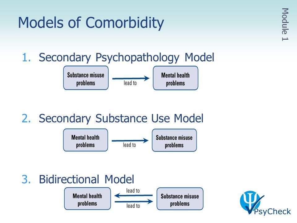 1.Secondary Psychopathology Model 2.Secondary Substance Use Model 3.Bidirectional Model Models of Comorbidity Module 1
