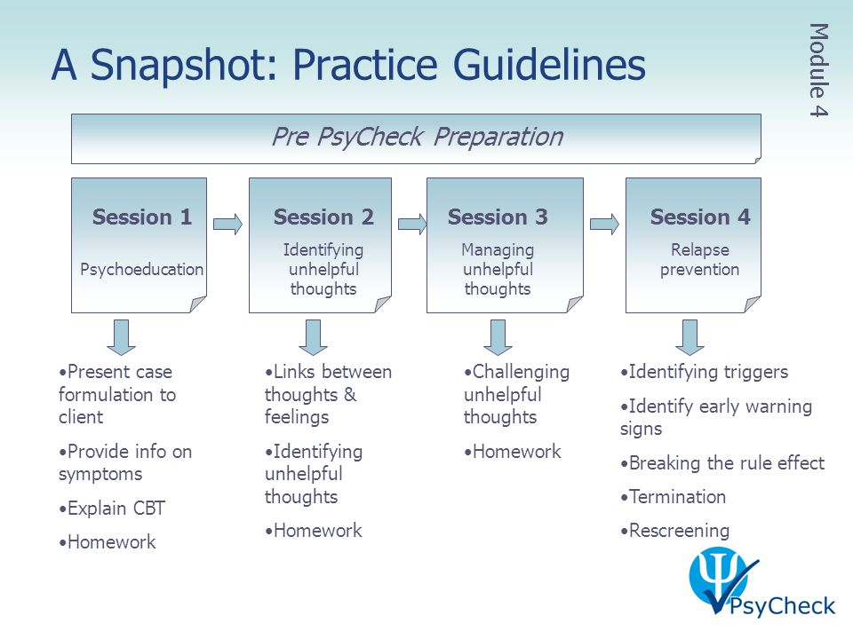 A Snapshot: Practice Guidelines Session 1 Psychoeducation Session 2 Identifying unhelpful thoughts Session 3 Managing unhelpful thoughts Session 4 Rel