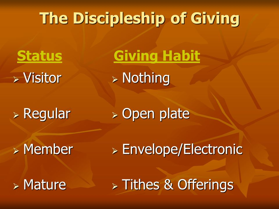 The Discipleship of Giving  Visitor  Regular  Member  Mature  Nothing  Open plate  Envelope/Electronic  Tithes & Offerings StatusGiving Habit