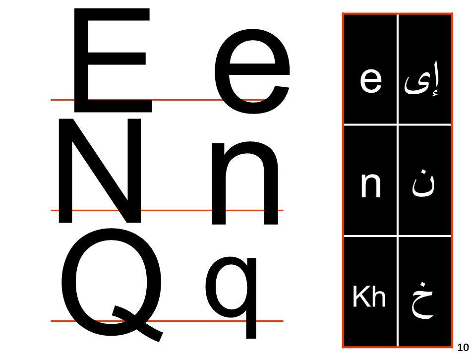 مراجعة للحروف خ Kh e n إى ن e E n N Q q 10