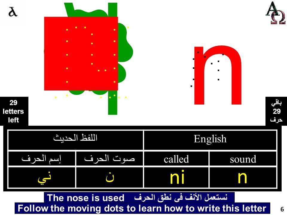 ني اللفظ الحديث English إسم الحرفصوت الحرف calledsound ني ن ni n...