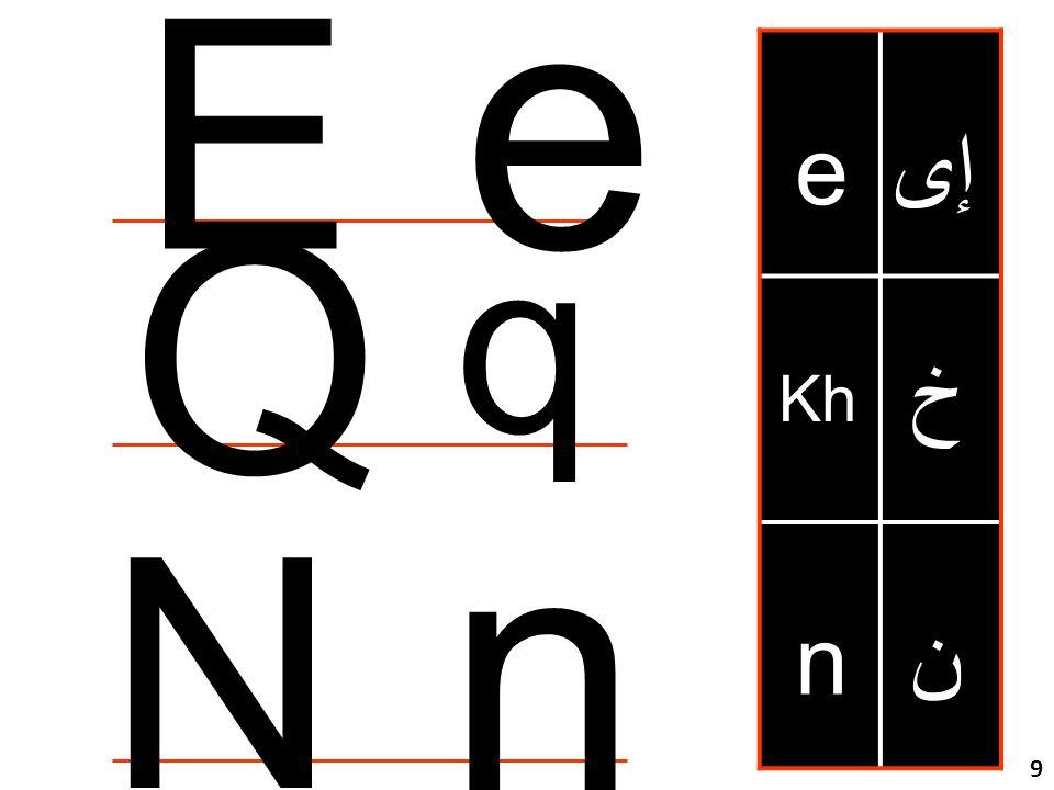 مراجعة للحروف خ Kh e n إى ن n N e E Q q 9