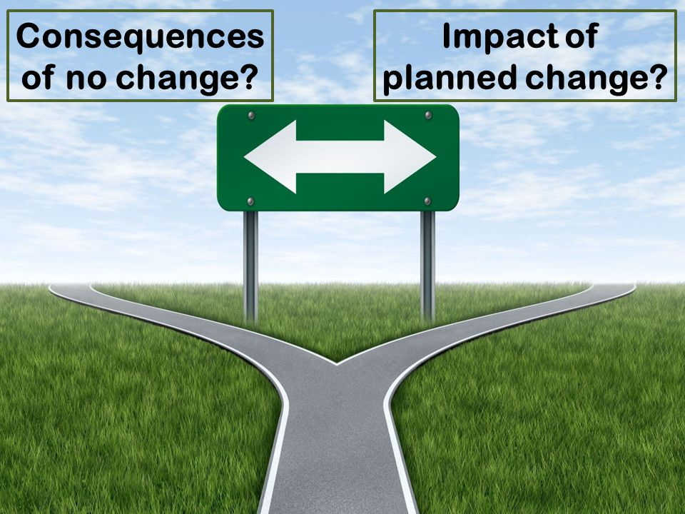 Consequences of no change Impact of planned change
