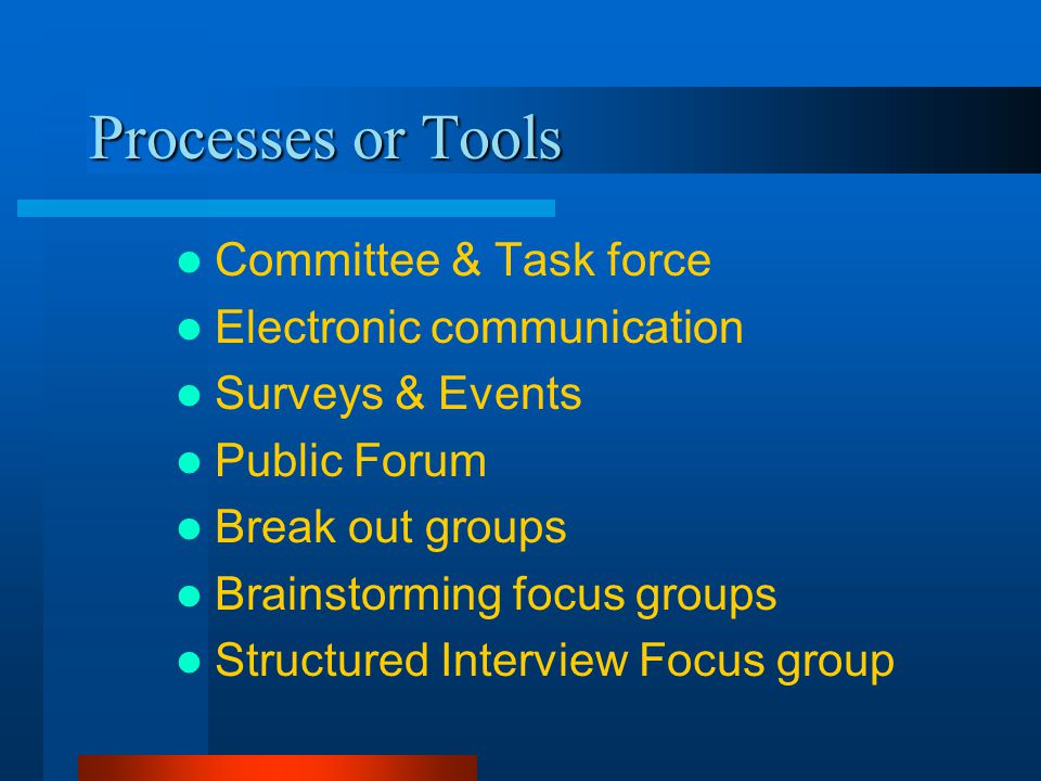 Processes or Tools Committee & Task force Electronic communication Surveys & Events Public Forum Break out groups Brainstorming focus groups Structured Interview Focus group