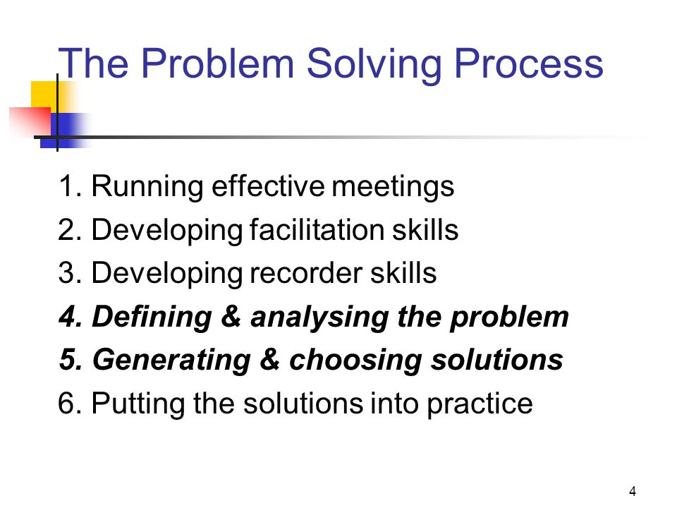4 The Problem Solving Process 1. Running effective meetings 2. Developing facilitation skills 3. Developing recorder skills 4. Defining & analysing th